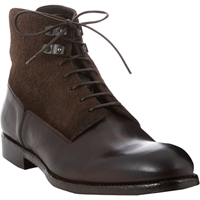 Alexander Mcqueen Suede Leather Lace Up Boots Dk.Brown
