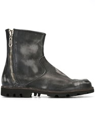 Diesel Frayed Zipped Ankle Boots Black