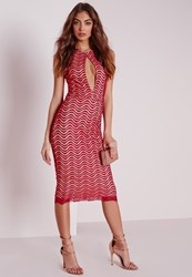 Missguided Keyhole Lace Midi Dress Red Red