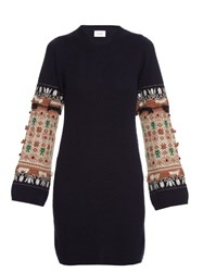 Barrie Twiggy Space Embroidered Cashmere Dress Navy Multi