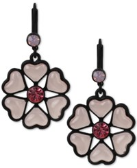 Betsey Johnson Black Tone Heart Flower Drop Earrings Pink Black