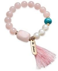 Danielle Nicole Inspired Life Beaded Tassel And Stone Message Bracelet Pink