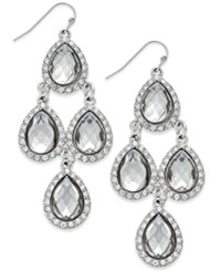 Inc International Concepts Gold Tone Jet Black Teardrop Chandelier Fish Hook Earrings Only At Macy's Silver