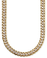 Macy's 14K Gold Over Sterling Silver And Sterling Silver Necklace Mesh