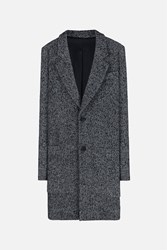 Ami Alexandre Mattiussi Herringbone Notched Lapel Coat Black