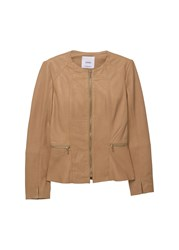 Mango Zip Leather Jacket Beige