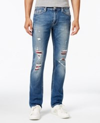 Guess Men's Slim Fit Straight Leg Jeans Internal Blue Wash