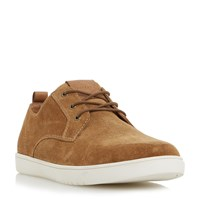 Dune Tucker Round Toe Suede Trainers Tan