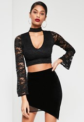 Missguided Black Velvet Mesh Insert Asymmetric Mini Skirt