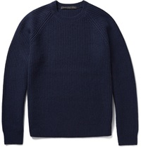 Marc By Marc Jacobs Ribbed Knit Wool And Cashmere Blend Sweater Blue