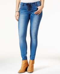 Rampage Juniors' Chloe Curvy Lace Up Super Skinny Jeans Holly
