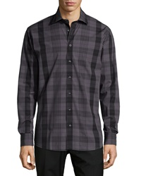 Neiman Marcus Long Sleeve Plaid Sport Shirt Black