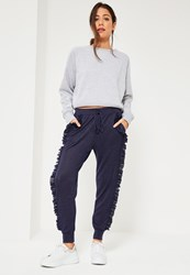 Missguided Blue Ruffle Full Length Casual Joggers Navy