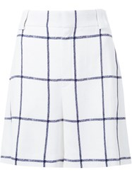 Chloe Windowpane Check Shorts White