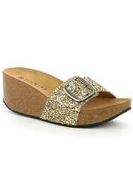 Daniel Roswell Open Toe Mid Wedge Mules Gold Metallic