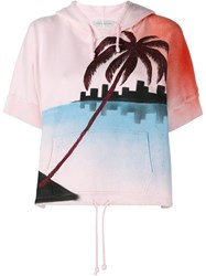 Faith Connexion Palm Tree Print Sweatshirt Pink And Purple