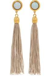 Ben Amun Gold Tone Stone And Tassel Clip Earrings