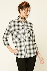 Forever 21 Tartan Plaid Flannel Shirt Black Cream