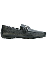 Ermenegildo Zegna Logo Buckle Loafers Black