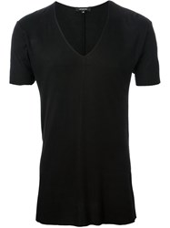 Unconditional Ribbed V Neck T Shirt Black