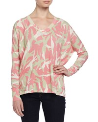 Minnie Rose Long Sleeve Cotton Boyfriend Sweater W Camouflage Print Pink Pop