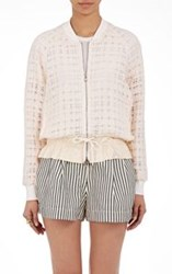 3.1 Phillip Lim Gauzy Tweed Bomber Jacket White