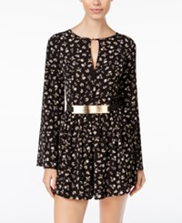 Material Girl Juniors' Printed Belted Romper Only At Macy's Black