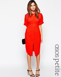 Asos Petite Wiggle Dress With Split Front Red