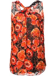 Lanvin Rose Print Sleeveless Top