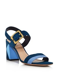 Tory Burch Palermo Color Block Ankle Strap Sandals Provence Blue Multi