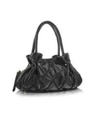 Fontanelli Pleated Nappa Leather Satchel Bag Black