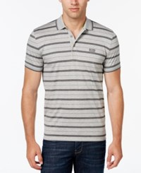 Hugo Boss Green Men's Paddy Heather Stripe Polo Grey Melange