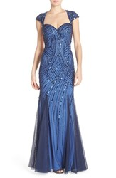Women's Sean Collection Open Back Embellished Net Gown