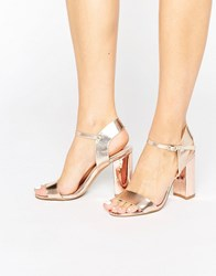 New Look Metallic Block High Heeled Sandals Rose Gold