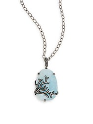 Bavna Long Sterling Silver Pendant Necklace Turquoise
