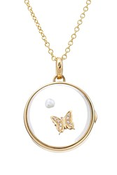 Loquet 14Kt Round Locket With 18Kt Gold Charm Pearl And Diamonds Multicolor
