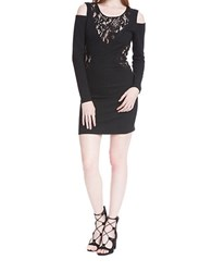 Plenty By Tracy Reese Cold Shoulder Lace Inset Bodycon Dress Black