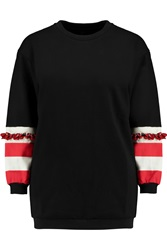 Mother Of Pearl Harris Embellished Cotton Jersey Sweatshirt Black