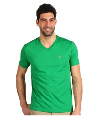 Lacoste S S Pima Jersey V Neck T Shirt Chlorophyll Green Men's Short Sleeve Pullover
