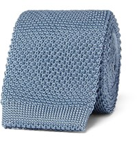 Burberry Knitted Silk Tie Blue