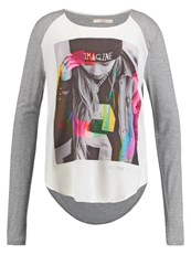 Gaudi' Gaudi Long Sleeved Top Light Gray Melange White Grey