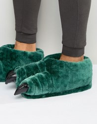Asos Claw Slippers In Green Green