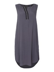 Maison Scotch Sleeveless Placket Dress Navy