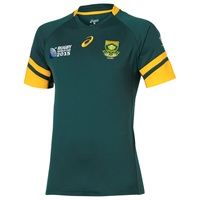 Asics South Africa Springboks Rugby World Cup Home Shirt Green Gold