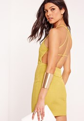 Missguided Strappy Ribbed Bodycon Dress Green Green