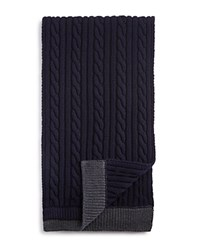 Moncler Wool Chunky Cable Knit Scarf Navy Grey