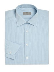 Canali Modern Fit Micro Check Dress Shirt Turquoise