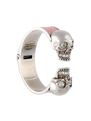 Alexander Mcqueen Twin Skull Bracelet Pink And Purple
