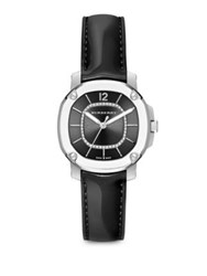Burberry Britain Diamond Stainless Steel And Patent Leather Strap Watch Black Silver