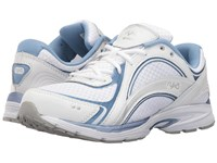 Ryka Sky Walk White Metallic Lake Blue Chrome Silver Women's Walking Shoes Gray